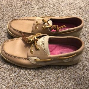Sperry top-sider boat shoes, sparkly gold accent